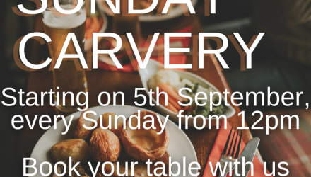 Sunday Carvery - Starting 5th September from 12pm